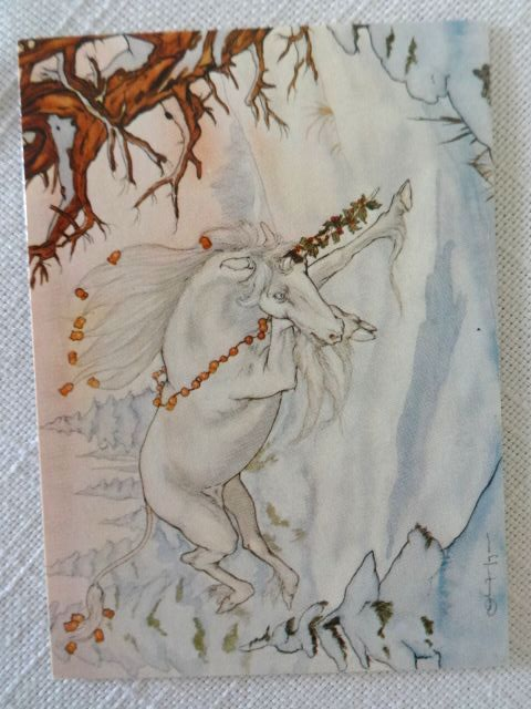Michael Hague 5 Mini Notecards 1981 Santa Claus Unicorns