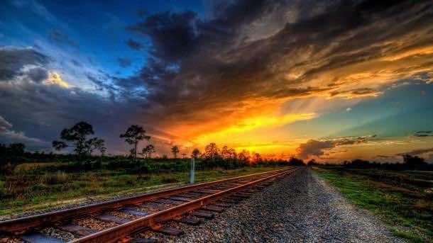 Wonderful Sunset On Train Tracks Hdr HD Desktop Background