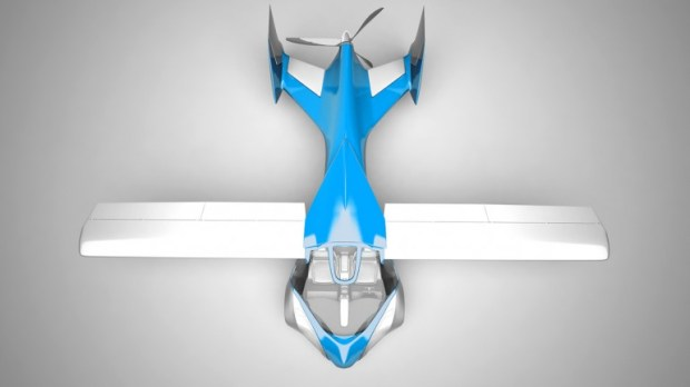 An overhead view of the flying car shows the sleek lines and square wings (Photo: Aeromobi...