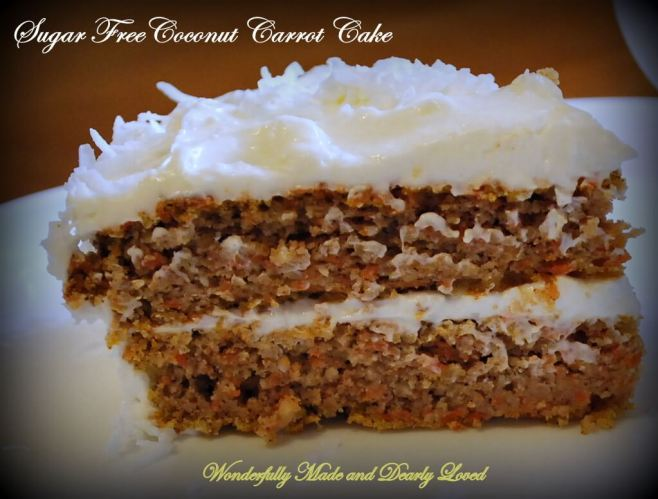 Sugar Free Coconut Carrot Cake, Cut