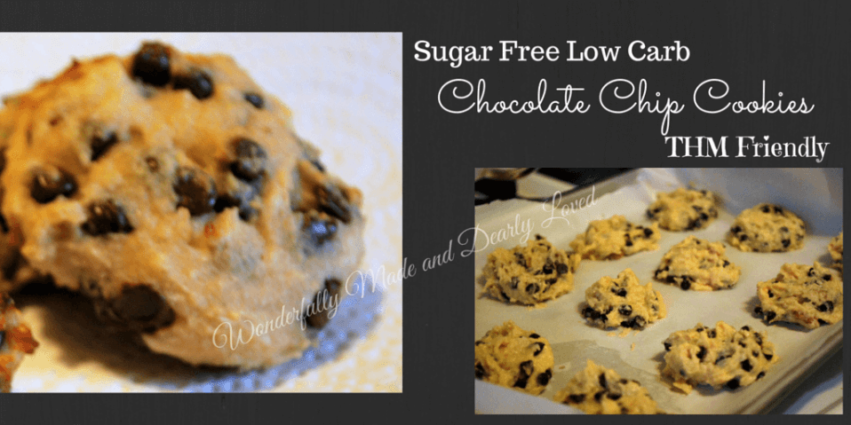 Sugar Free, Low Carb, THM Friendly Chocolate Chip Cookies. These little gems are a satisfying treat for your Trim and Healthy Lifestyle!u