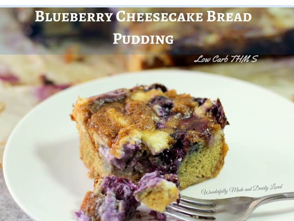 Blueberry Cheesecake Bread Pudding (THM S, Low Carb, Sugar Free)