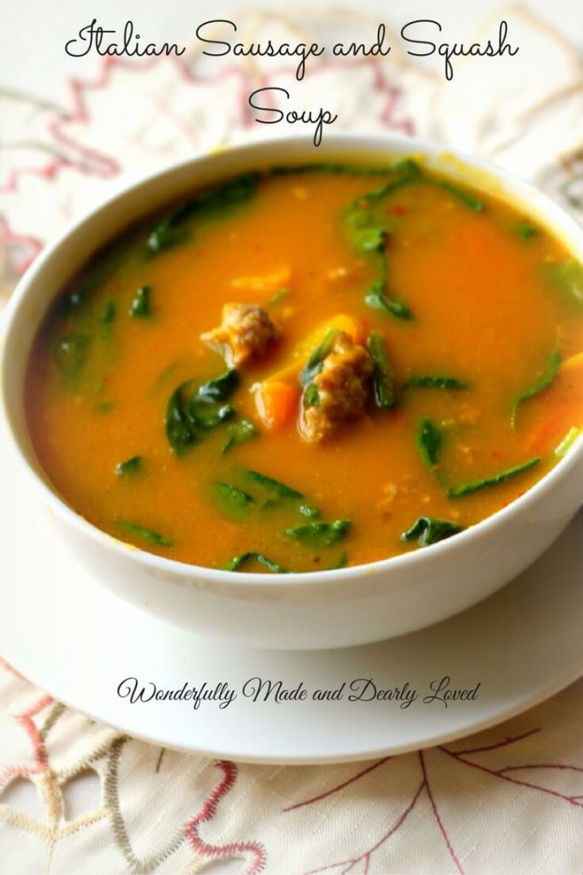 Italian Sausage & Squash Soup (THM S helper or Crossover)