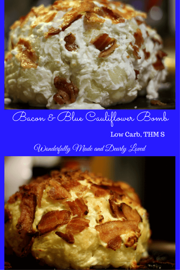 This Bacon & Blue Cauliflower bomb is sure to impress your guests as it graces your holiday table. It is both low carb and THM S.