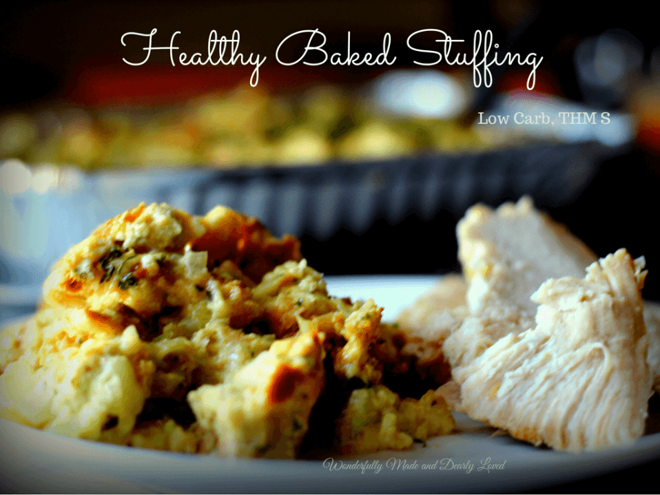 A trim healthy mama friendly baked stuffing recipe.