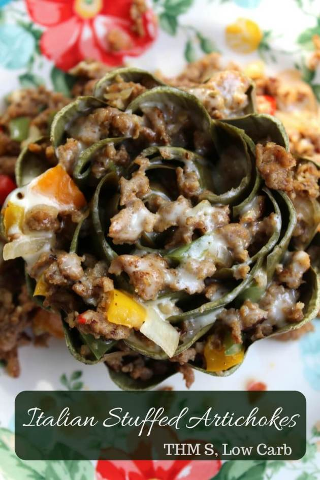 A wonderful THM S or Low Carb Italian Stuffed Artichokes Recipe that can be made in the Instant Pot or in the oven.