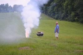 Craig running a firework test