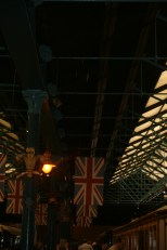 The great british flags hanging high and proud.
