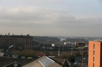 A look out over Preston railway line, Lancashire records building as well as the river ribble in the background.