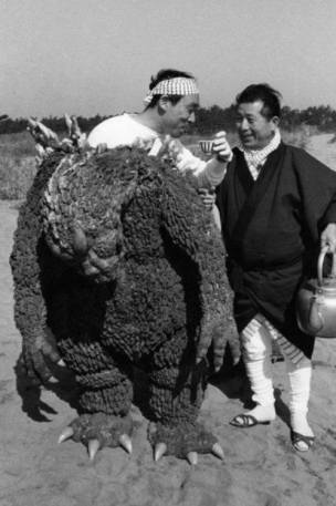 Godzilla takes a break from filming.