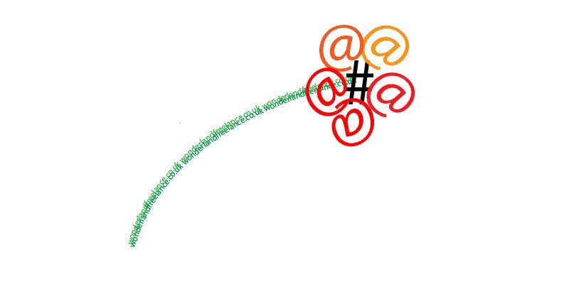 illustration of flower made up of hash tag and @ sign to indicate social media
