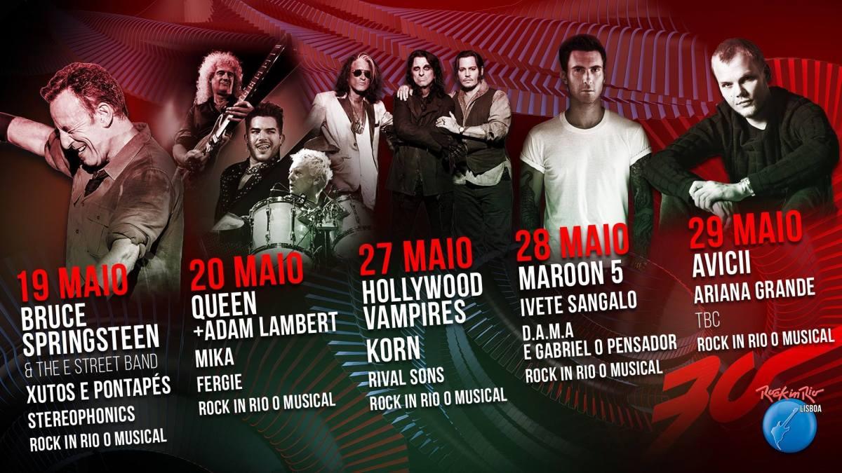 Lineup do Palco Mundo do Rock in Rio Lisboa 2016