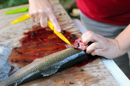 Grilled Fresh Caught Trout: Cleaning the fish