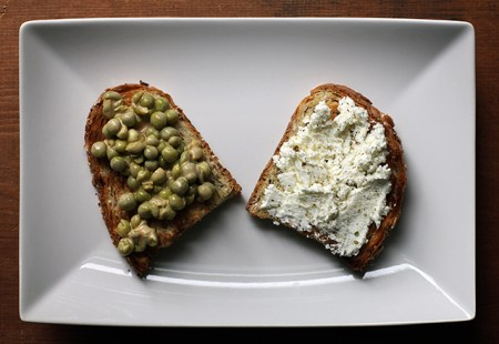 Peas and Cheese Crostini