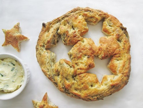 Star-Crossed Focaccia with Green Onion Parmesan Butter
