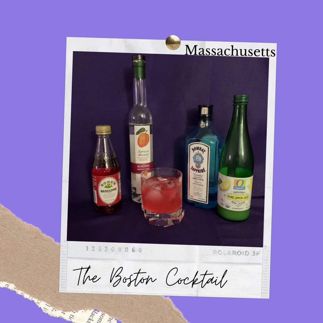 Photo shows Best Drinks Massachusetts. Ingredients shown left to right to create the Boston Cocktail are Grenadine, Apricot Brandy, Bombay Sapphire gin and a bottle of lemon juice.