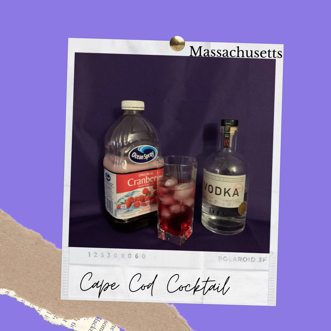 Photo shows Best Drinks Massachusetts. The ingredients pictured to create a Cape Cod Cocktail are shown left to right; cranberry juice and vodka.