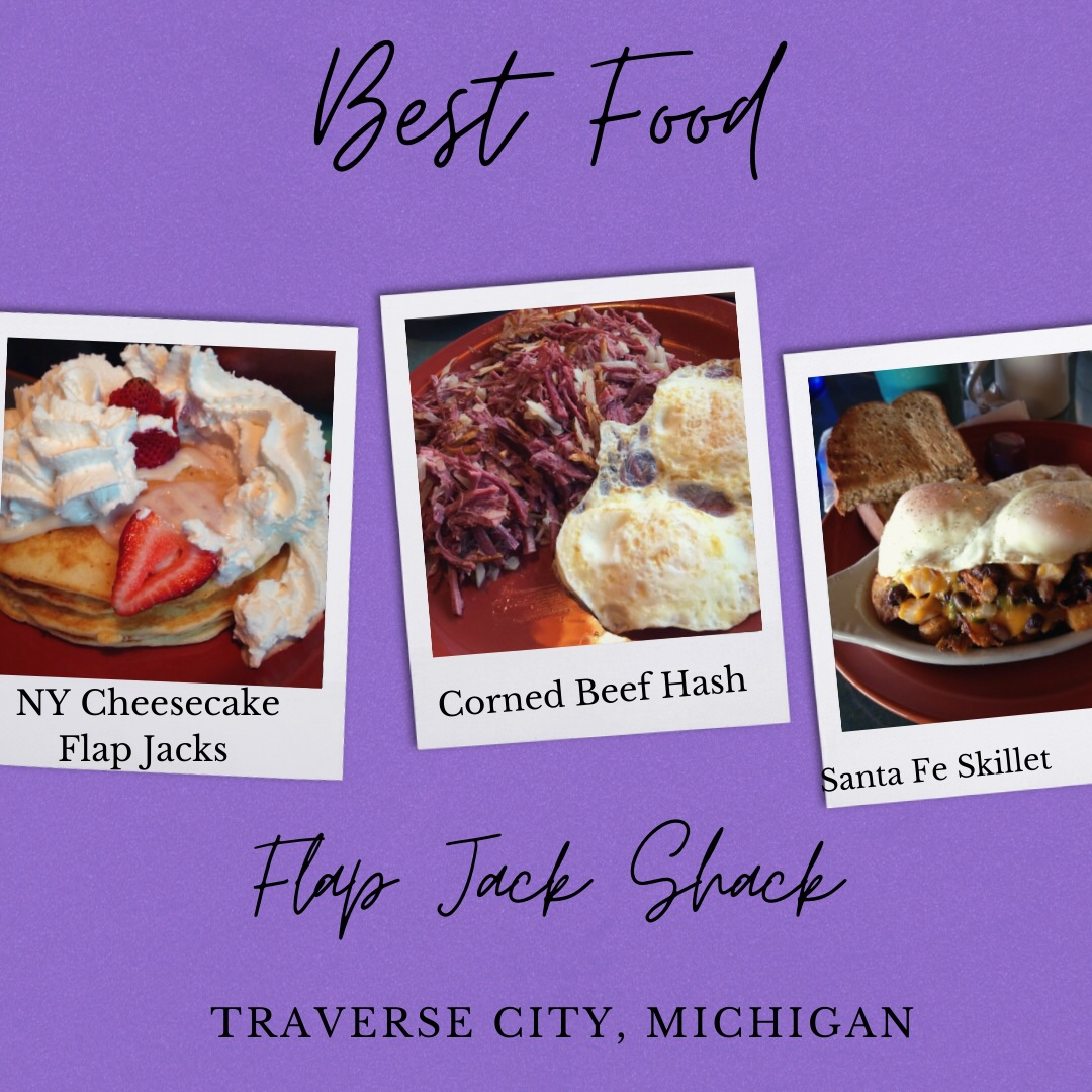 Photo shows three other photos for Best Food Michigan. First photo shows New York Cheesecake Flap Jacks topped with strawberries and whipped cream. Second photo shows Corned Beef Hash with eggs. Third photo shows Santa Fe Skillet topped with eggs.