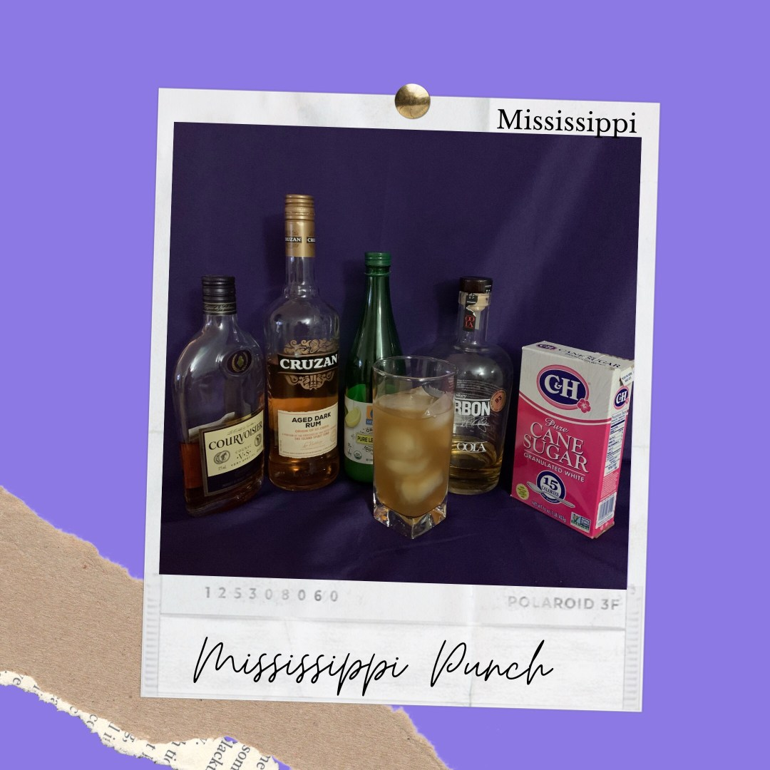 Photo shows Best Drinks ingredients used to create a Mississippi Punch Cocktail. Ingredients shown left to right are Cognac, Dark Rum, Lemon Juice, Bourbon and fine Sugar.