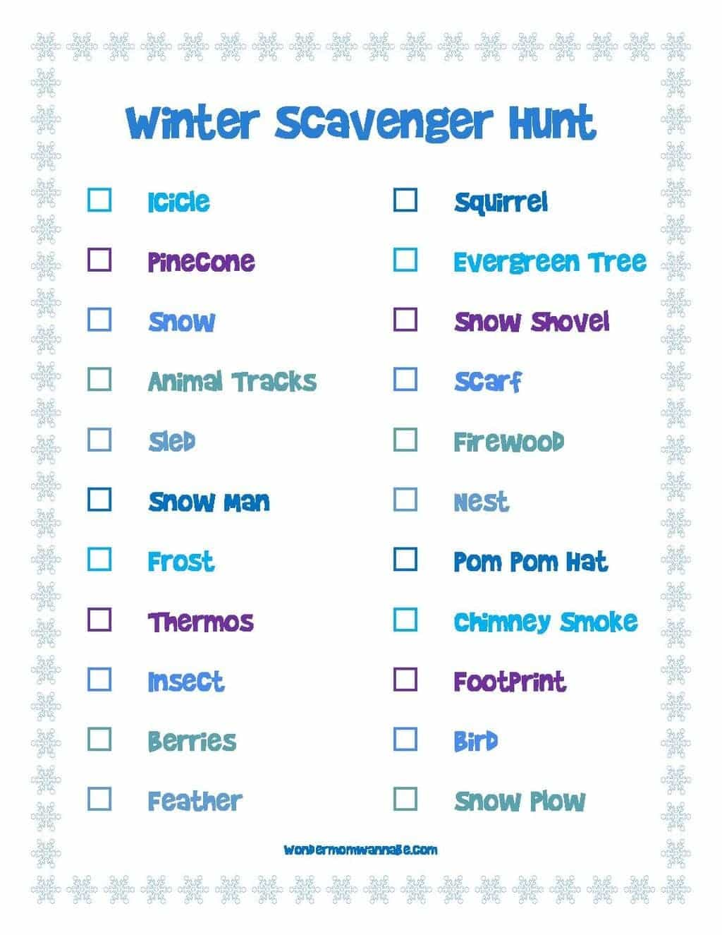 Printable Winter Scavenger Hunt