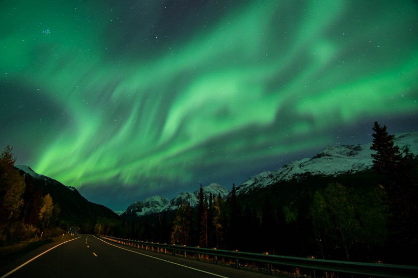 Green northern lights dance over a forest road in alaska. A street light illuminates the road. Stars shine overhead.