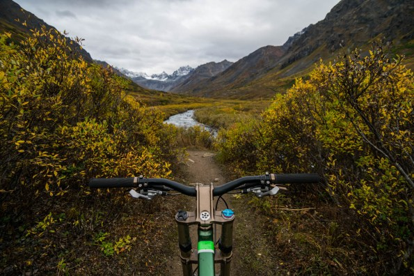 A first person view of mountain bike handle bars on gold mint trail during a cloudy autumn day in Alaska's Hatchers pass wilderness.