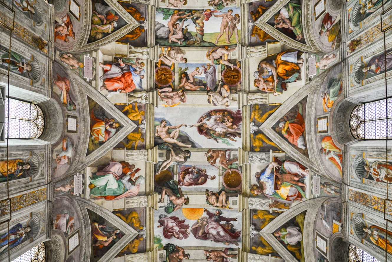 The last judgment depicted in a painting by Michelangelo on the sistine chapel.