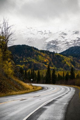 A wet winding road bends through an Alaskan autumn forest. Birch trees change to fall yellow colors. In the background behind clouds of fog mountains are seen with a light cover of snow. Orientation is vertical.