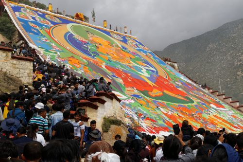 Embroidered Thangka displayed during Shoton festival in Drepung Monastery in Lhasa, Tibet