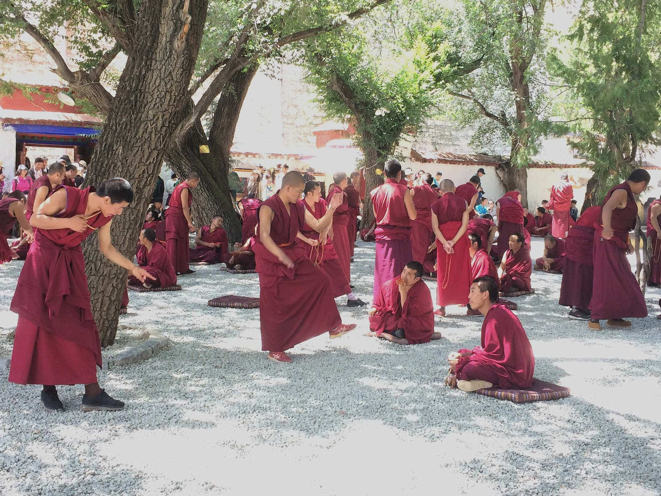 Monks debate in Sera Monastery in Tibet