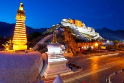 View on Potala Palace in the evening