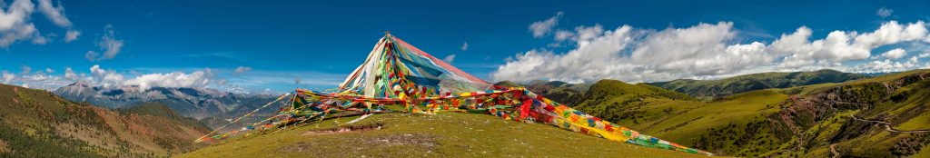 Prayer flags Tibet panorama