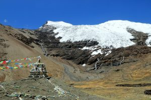Karola Glacier with stupa and prayer flags in Tibet