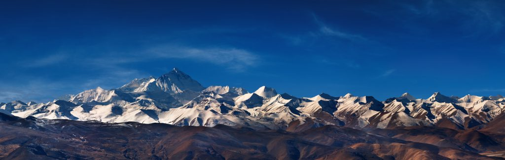 Panorama of Himalayan mountains and Everest