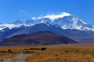 The North Face of Cho Oyu mountain from Tingri in Tibet