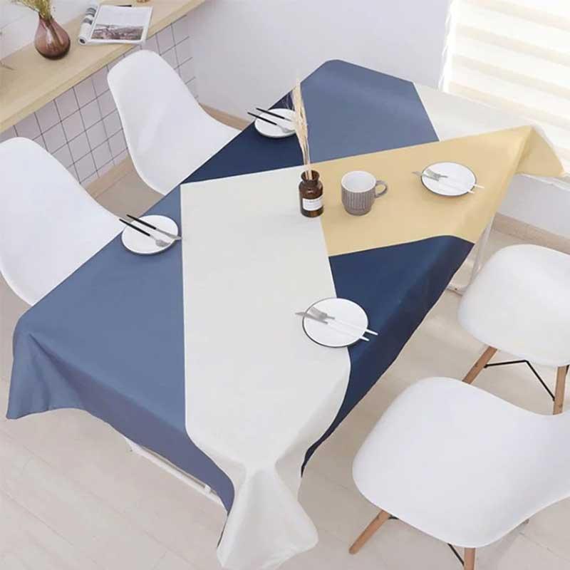 簡約優雅幾何防水桌布