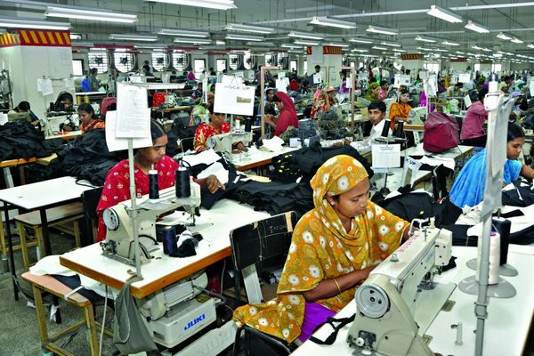 Garment production process in factory