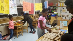 Student led  a guitar making workshop