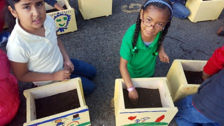 Students plant vegetable seeds