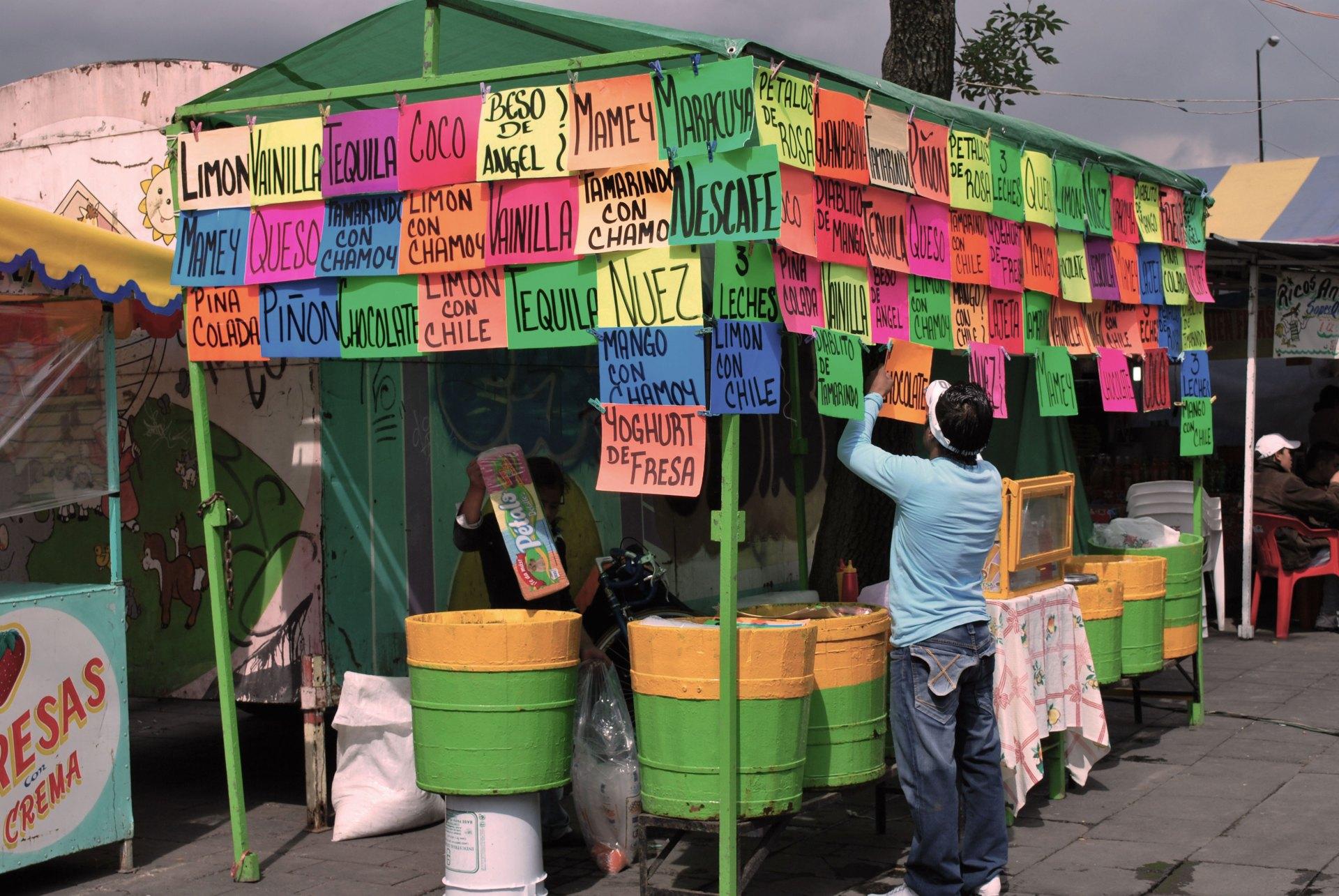 Mexico city ice cream street food stall