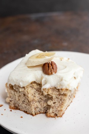 piece of banana cake with chunking missing