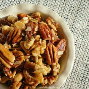 nut mix in cream colored dish