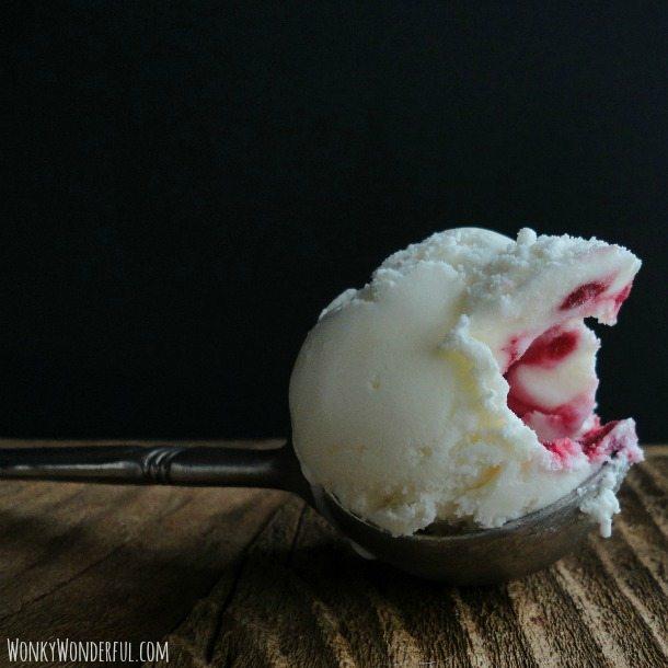 Creme Fraiche Ice Cream with Honey Raspberry Swirl
