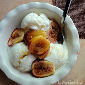 white ice cream, figs and honey in bowl with spoon