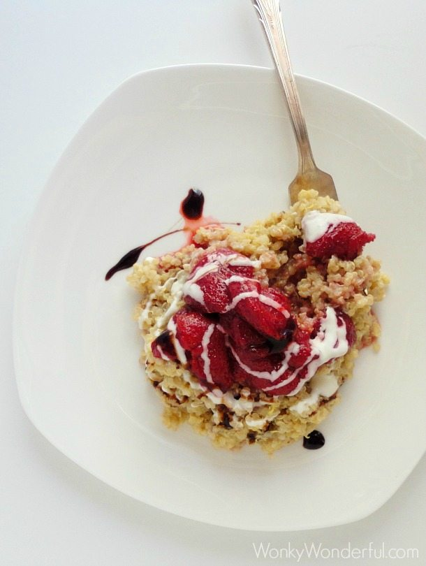 Roasted Strawberry Quinoa with Balsamic Glaze ::: wonkywonderful.com