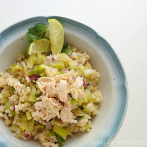 above view of quinoa and chicken with lime slices in white and blue bowl