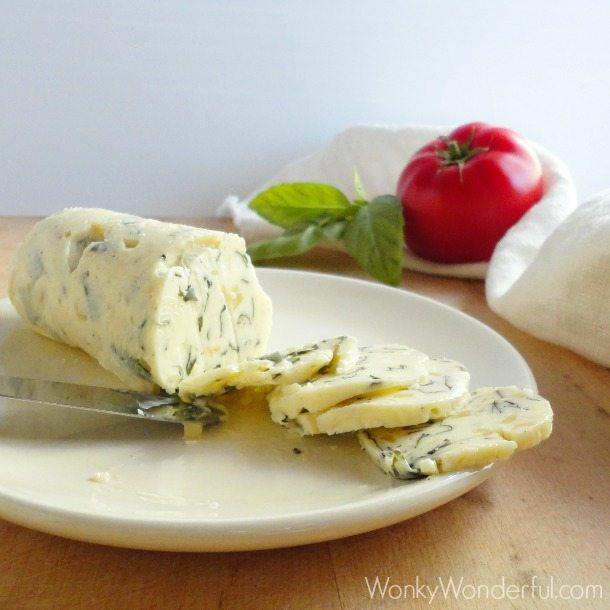 Tomato Crostini with Basil & Roasted Garlic Compound Butter ::: wonkywonderful.com