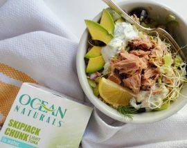 Gluten Free, No Mayo Tuna Salad Quinoa Recipe ::: wonkywonderful.com #OceanNaturals #glutenfree #shop