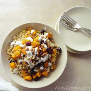 Gluten Free Vegetarian Pumpkin Quinoa Bowl - with cranberries, pecans and gorgonzola dressing ::: wonkywonderful.com ::: #glutenfree #vegetarian #veryvegetarian #quinoa #pumpkin