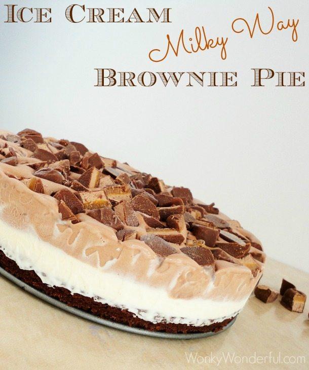 Ice Cream Milky Way Brownie Pie ::: wonkywonderful.com ::: #GameDayBites #shop